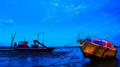 Wrecks & Relics (Jonathan d[-_-]b) Tags: night blue hour bluehour water ocean arcachon