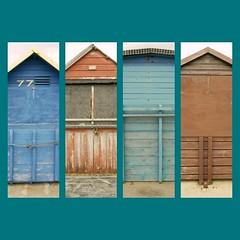 Beach huts, Hamworthy, Dorset, England (a.pierre4840) Tags: wood england texture beach colors lines collage architecture composition lumix wooden colours 11 panasonic squareformat dorset beachhuts f25 14mm hamworthy gm1 phototasticcollage