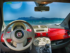 Fiat 500 (Lothar Heller) Tags: beach car spain fiat 500 mallorca balearen