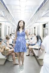 Levitation on a train (yuryvinokurov) Tags: girl beauty moscow russia train flight flying levitating levitate cute people crowd commute transport