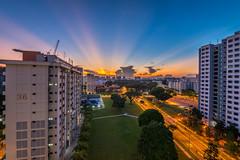 Amazing Sun-rays (BP Chua) Tags: morning sky urban orange sun house beautiful sunrise singapore asia bluesky burning rays sunrays hdb sunrie burnign