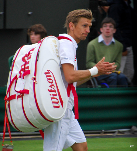Jarkko Nieminen - Does Jarkko know he's packed a spectator in his tennis bag?