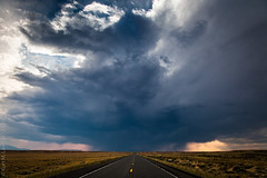 Into the Storm (Kurt Lawson) Tags: road sky storm mountains rain backlight clouds us 14 east yellowstone thunderstorm 16 wyoming cody wy copyrighted