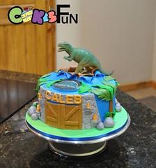 Jurrasic World Cake (bsheridan1959) Tags: trees cake gate dinosaur boulders fondant childrenscake kidscake