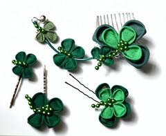 Lucky Clovers in Kimono Silk (Bright Wish Kanzashi) Tags: original irish handmade oneofakind clover shamrock clovers kanzashi luckysymbol tsumamizaiku