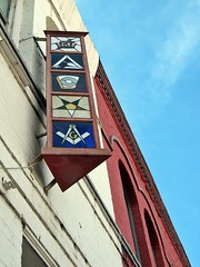 stained glass sign (plainkacyjane) Tags: building art glass sign star stained masonic symbols compass freemason