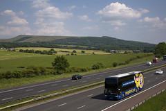 Megabus with a view... (Vodka Burner) Tags: summer landscape lancashire stagecoach vanhool winterhill megabus westpenninemoors rivingtonpike northwestengland megabuscom 50246 vanhoolastromega vanhooltd927 sv62bbj
