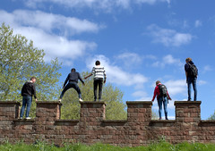 Climbing Roman walls in Manchester (Tony Worrall Foto) Tags: county city uk blue england sky people castle students stone manchester fun climb high stream tour play open place northwest roman unitedkingdom fort candid country north battle visit location tourists made area tall northern fortifications update built attraction castlefield relic defend manc gmr welovethenorth