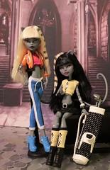 Sporty Werecat Twins (Annette29aag) Tags: fashion cat golf twins doll artist ooak bratz repaint werecat purrsephone amberhoney monsterhigh meowlody