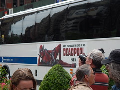 Get a load of me! (C_Oliver) Tags: camera usa newyork bus film america movie advertising poster photographer manhattan 5thavenue billboard advertisement superhero marvelcomics madisonsquare antihero deadpool