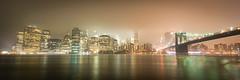 Foggy Downtwon Manhattan (Malick) Tags: city newyorkcity travel bridge winter usa newyork rain fog skyline brooklyn night america skyscraper lens photography lights nikon downtown unitedstates angle manhattan wide sigma dslr 1020mm uwa d5200