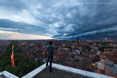 My Kingdom (mvdc0w) Tags: street city sunset summer sky urban storm tree rooftop clouds spring cityscape rooftops wind toulouse ville toits