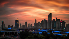city red (Rob-Shanghai) Tags: china highway shanghai redsky puxi