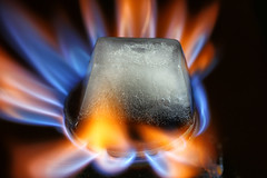 Fire and Ice (Crisp-13) Tags: blue hot cold ice melting gas flame cube hob