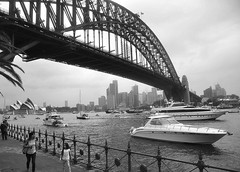 Sydney Harbour (missgeok) Tags: travel bw fence boats scenery sydney australia circularquay harbourbridge cityskyline sydneyoperahouse beauitful