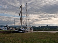 Tall ship (La Malouine) on the River Nith in dock at Glencaple near Dumfries (penlea1954) Tags: uk sea river la scotland dock ship estuary tall dg solway dumfries galloway nith malouine glencaple