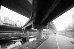 Highways and walkways (strogoscope) Tags: street bw overpass walkway seoul infrastructure southkorea    hongjecheon
