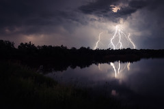 Touch down (Pásztor András) Tags: summer lake storm reflection reed nature water grass clouds photography nikon hungary flash stormy thunder 1870mm andras pasztor d5100