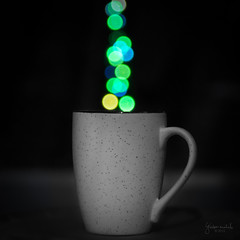 Coffee Mug - Bokeh (Gladson777) Tags: bw food blur art cup coffee illustration tea drink bokeh background sony steam mug colourful alpha magical porcelain f4 slt a58 bonechina
