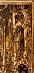 Geel, Vlaanderen, St.-Dimpnakerk, saint Dimpna altar, St. Cecilia {?} with portative (groenling) Tags: wood saint sint carving altar organ be cecilia geel woodcarving orgel flanders gilding kempen vlaanderen retable organetto altaar portative helige portatief mmiia stdimpnakerk dimpnaaltaar