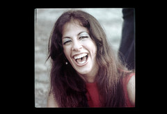 ss23-44 (ndpa / s. lundeen, archivist) Tags: portrait people woman color film face boston laughing massachusetts nick slide laugh laughter slideshow brunette mass 1970s youngwoman bostonians bostonian dewolf early1970s nickdewolf photographbynickdewolf slideshow23