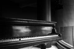 Playing in a low key . (HelenBushe) Tags: bw piano grand lowkey
