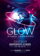 Glow Party | Space Invaders Template (Rome Creation) Tags: background black blue club conceptual creation digital dispersion dust earth effects explode glow glowing gold invaders laser led light lights neon night party photo photomanipulation planet purple retouching rome shine space splash star stick surrealism theme up uv wallpaper envato graphicriver art