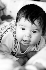 Beautiful (gornabanja) Tags: baby infant small blackwhite blackandwhite contrast face portrait nikon d70