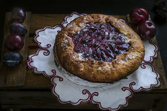 plum galette on dark background , selective focus (gorobina) Tags: pie cake plum dessert homemade galette sweet delicious tasty fruit gourmet food pastry rustic meal cooking purple healthy country tart recipe summer crust bakery kitchen lunch wooden traditional table round treat sugar autumn breakfast crispy fall fresh dish baked seasonal biscuit cookery appetizing filling eating culinary useful yummy vegetarian dark