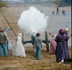 Confederate Ladies (Zane's Photography) Tags: coast coastaldefensefort fortstevens hasselblad350mmf56c hasselblad500cm kodakportra400 ncwc northwestcivilwarcouncil pacific reenactment reenactors