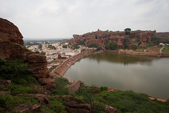 View over the Badami water tank (Scalino) Tags: india karnataka travel trip badami temple heritage site chalukyas chalukya cavetemple cave water tank lake