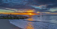 Branksome Sunrise (nicklucas2) Tags: bournemouth seascape beach groyne isleofwight sea sand solent sun sunrise cloud