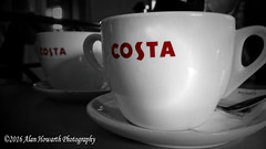 0008 Coffee Time (Alan Howarth Photography) Tags: plymouth devon relaxing cup coffee costa colour pop red bw  2016 alanhowarthphotography