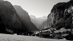 LAUTERBRUNNEN, SWITZERLAND (posterboy2007) Tags: lauterbrunnen switzerland swiss waterfall staubbachfalls blackandwhite valley bernesealps alps mountain anseladams