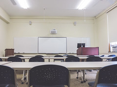 monday morning (jojoannabanana) Tags: 3662016 canonpowershot chairs classroom empty morning s100