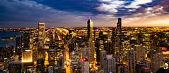 The night beggins (ingbalfaro) Tags: 360chicago street usa goldenhour skyscrapper chicago hancock