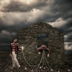 Flaws of the Giver (jonathanchape) Tags: fineart darkart ropes nature ruins clouds storm lightbulbs bulbs selfportrait outside surrealism
