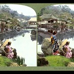 TWO GEISHA BY THE POND in HIKONE PARK, NEAR KYOTO -- IN COLORFUL 3-D thumbnail