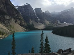 Moraine Lake (andrewireland92) Tags: lake canada mountains cloudy banff glacial morainelake canadianrockies summits sevensummits