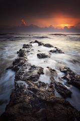Pandakness (by nelzajamal) Tags: sunset sea seascape beach rock sunrise flow nikon wave tokina malaysia slowshutter terengganu ganu singhray leefilter visitmalaysia pandak visitterengganu d7000 nelzajamal