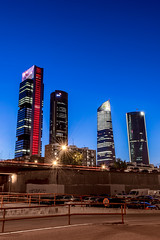 Good night Madrid (Job I) Tags: madrid city blue sky skyline night concrete four spain europe long exposure cityscape steel towers business