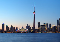 Toronto Skyline at Dusk (2014) (.annajane) Tags: city lake toronto canada tower water skyline night bay cityscape cntower waterfront dusk lakeontario centreisland