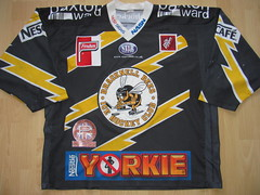 Bracknell Bees 2003 - 2004 Game Worn Jersey (kirusgamewornjerseys) Tags: game worn jersey england bracknell bees mike ellis ice hockey