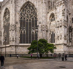 Architectural detail of the Duomo di Milano (Sorin Popovich) Tags: duomo duomodimilano cathedral gothicarchitecture gothic milancathedral milan milano lombardy italy architecture arch architecturaldetail catholicism catholicchurch landmark europe outdoors incidentalpeople