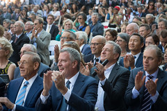 Mayor Bill de Blasio speaks at the reveal of the new Hudson Yards' grand public square and Thomas Heatherwick's interactive urban landmark on Wednesday, September 14, 2016. The event also featured a performance by dancers from the Alvin Ailey American Dan (nycmayorsoffice) Tags: construction related developement business art culture newyork ny usa