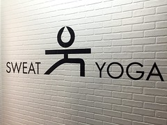 Sign painting for Sweat Yoga (NYC) (Seamus Liam O'Brien) Tags: art artist seamus liam obrien paint painting sign signage signpainting text font lettering logo icon brand design brick newyork ny nyc tribecca tribeca warriors pose white black