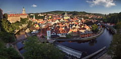 rapture (cherryspicks (intermittently on/off)) Tags: panorama krumlov bohemia unesco historic vltava river czech outdoor architecture building castle spire roof city town rapture day afternoon light travel