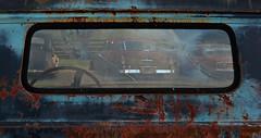 Rear Window (davidwilliamreed) Tags: old rusty crusty metal truck rear window rust decay patina oxidized oxidation abandoned neglected forgotten weathered simpsonfarm hallcountyga