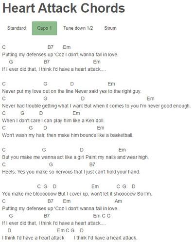 Capo One Heart Chords Demi Lovato