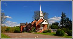 Bethel United Methodist Church (Jerry Jaynes) Tags: trees sky brick church clouds highlands bush worship parking sunday rhododendron methodist countrychurch bethelunitedmethodistchurch nikkor1685vr revmattmorris